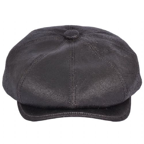 Newsboy Cap Distressed Leather - 8 piece - Black